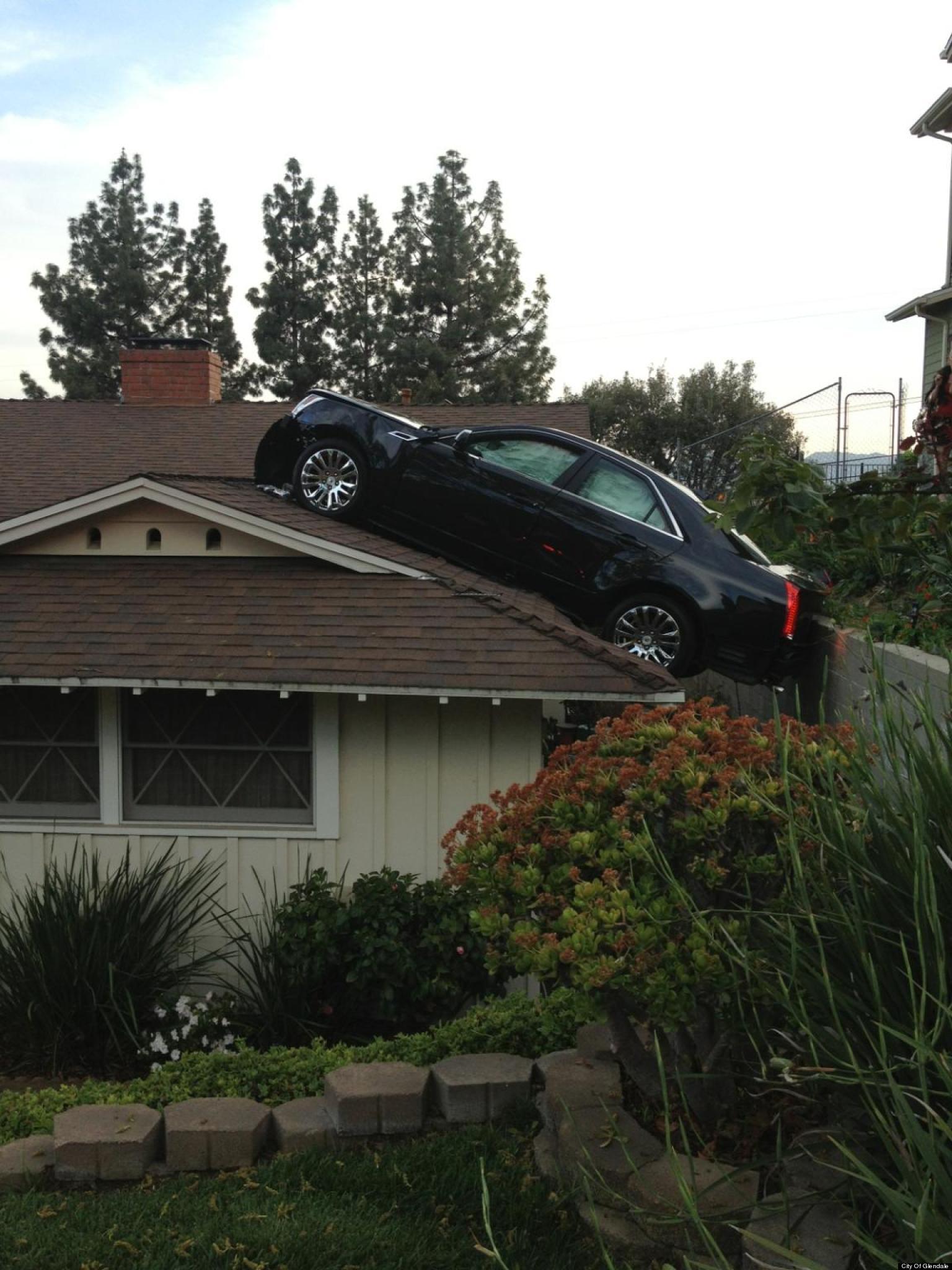 Car Lands On Roof In Glendale Calif Driver Robert Wynn