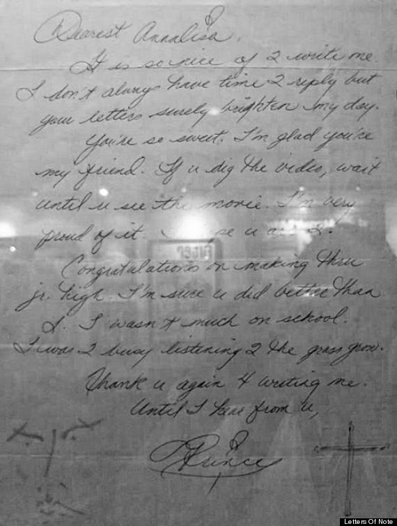 prince letter to young fan