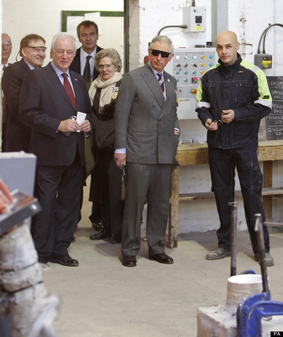 the prince of wales watches molten steel