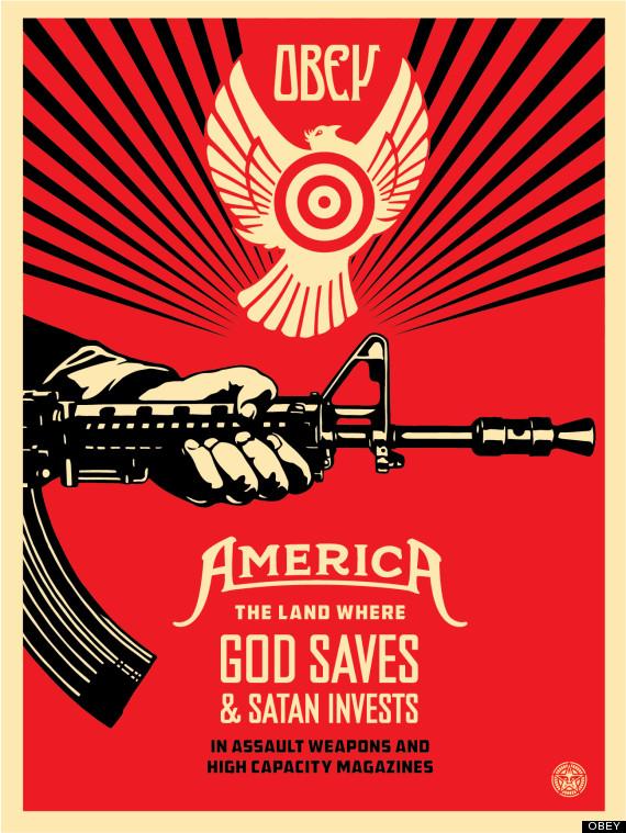 Shepard Fairey Gun Control Print, 'God Saves & Satan Invests