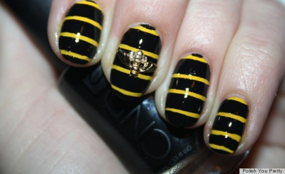 Diy nail art create a buzz with this 3d bumblebee manicure spring nail art bumblebee manicure prinsesfo Image collections