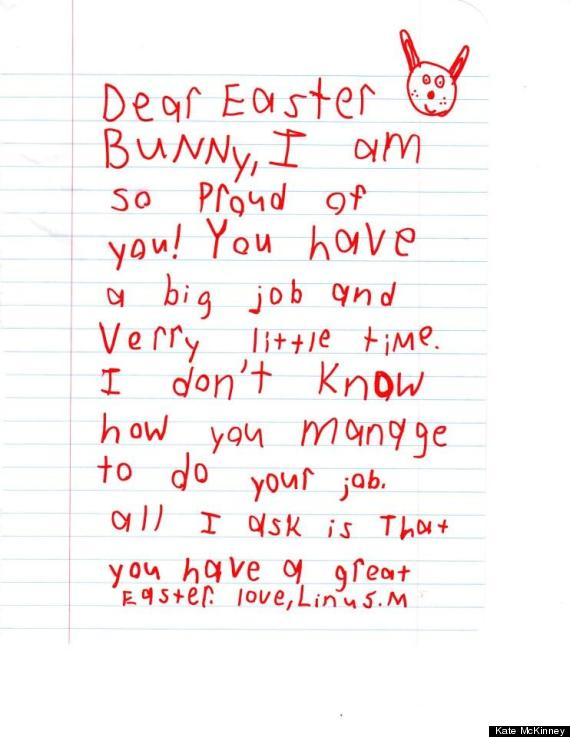 Cute kid note of the day dear easter bunny huffpost katemckinneynote m4hsunfo Image collections