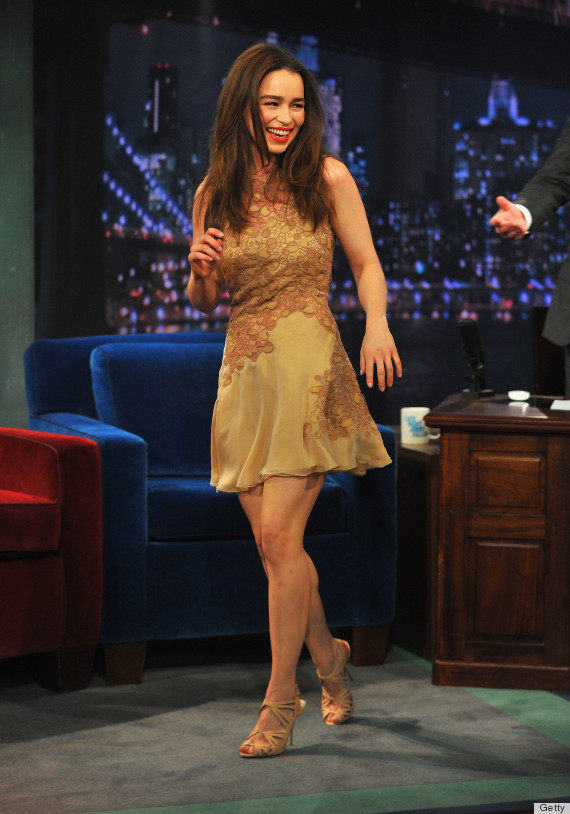 Emilia Clarke's Nude Dress On Jimmy Fallon Looks Gorgeous ...