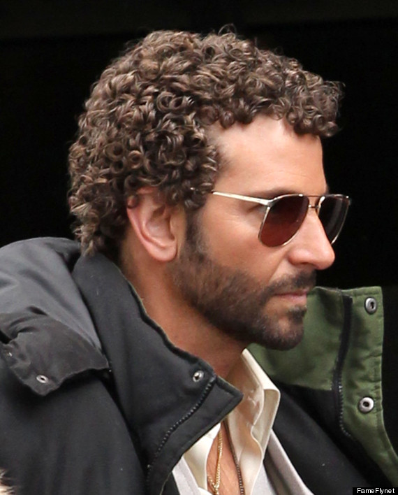 Bradley Cooper with curly hair that ahs being permed for a new role in David Russell movie
