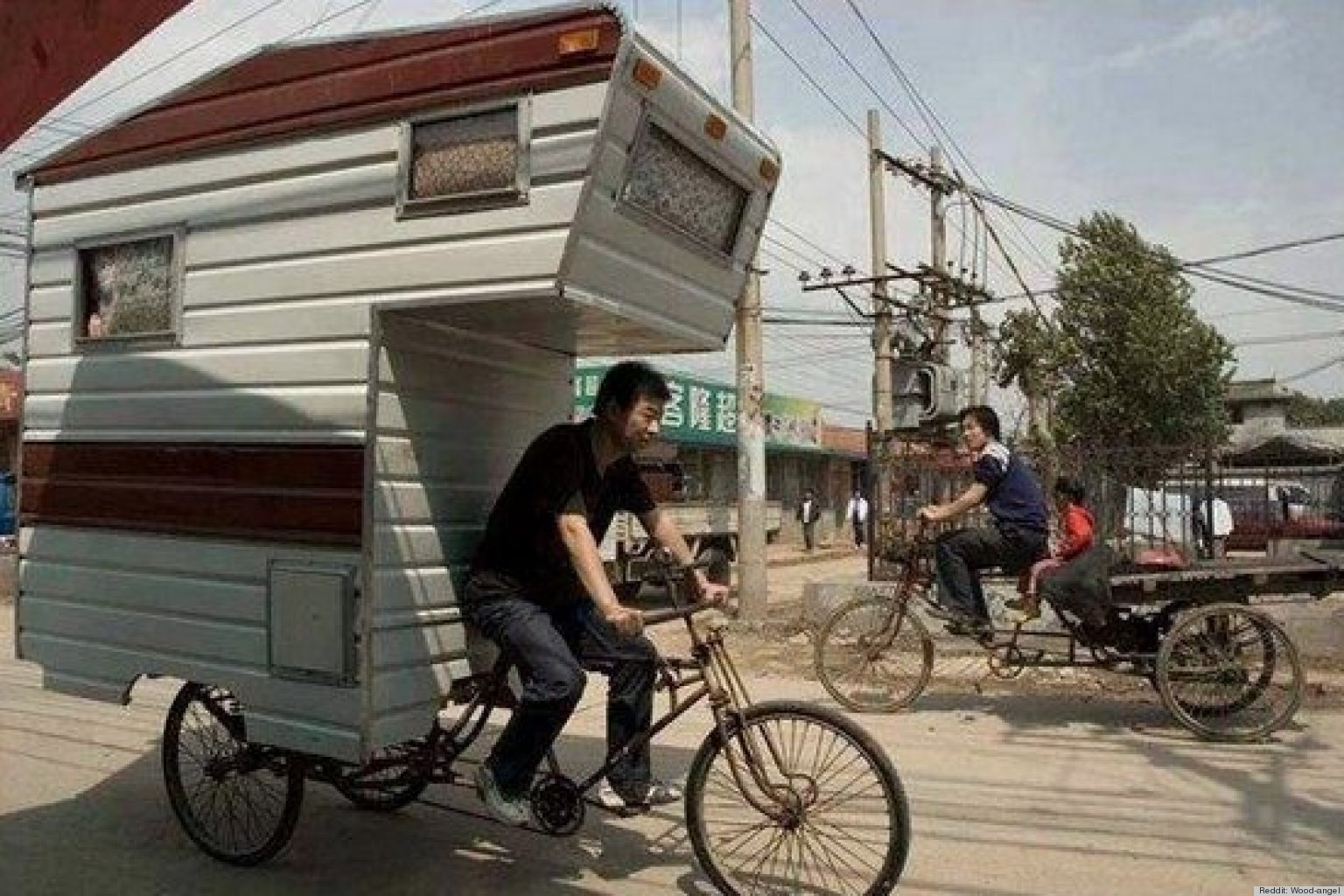 Bike Camper Trailer Tiny Trailer Pulled By Bicycle Rider May Really Be The Smallest