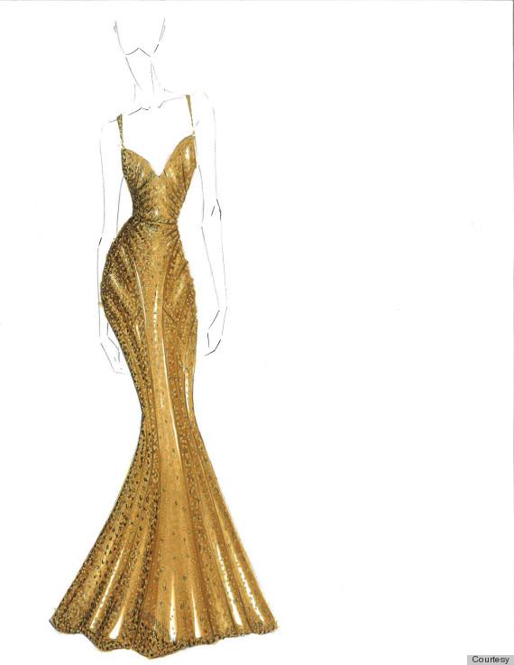 zac posen gold dress