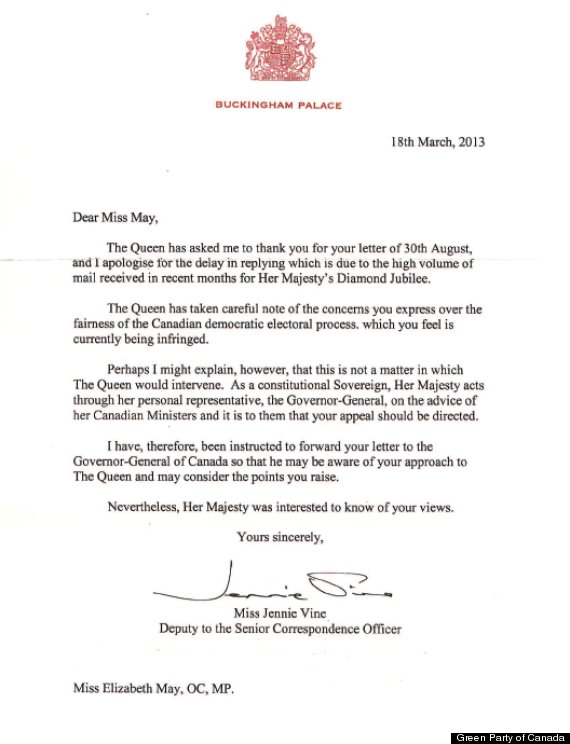 queen elizabeth letter to eliz may
