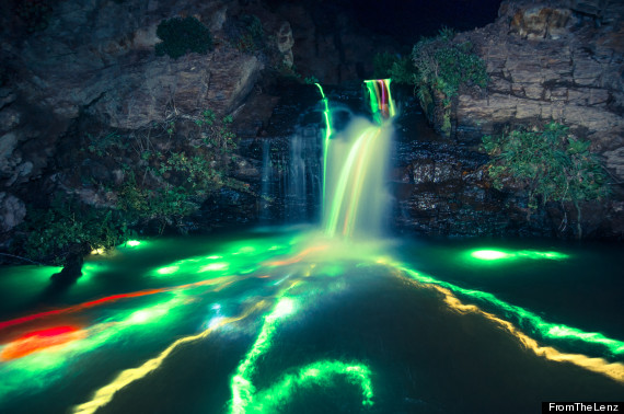 long exposure neon waterfall