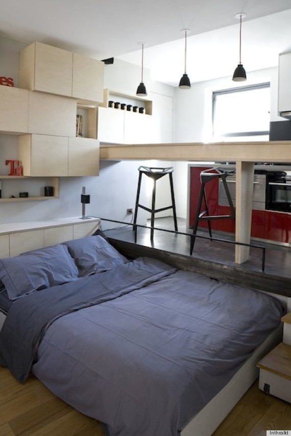 A small paris apartment that could fit in your dorm room for Tiny apartment kitchen solutions