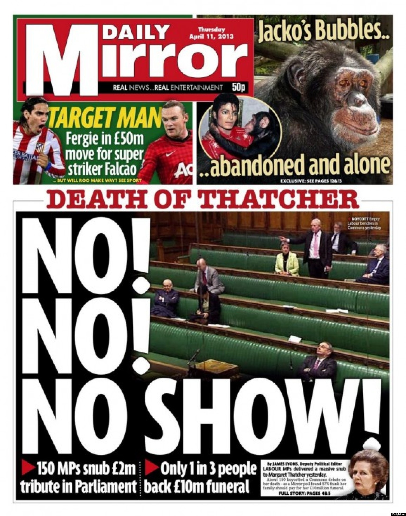 The sun and daily mirror both highlight labour thatcher for Sunday mirror