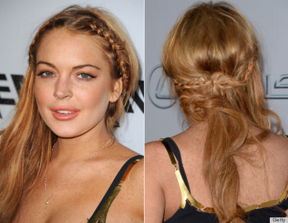 lindsay lohan messy french braid