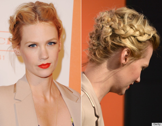 january jones messy french braid