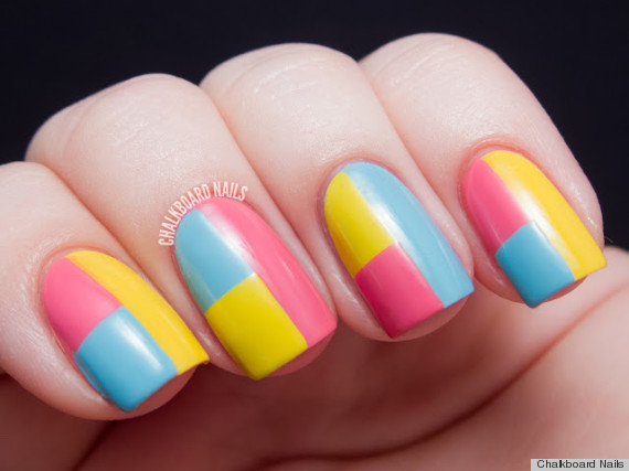 diy nail art colorblock manicure
