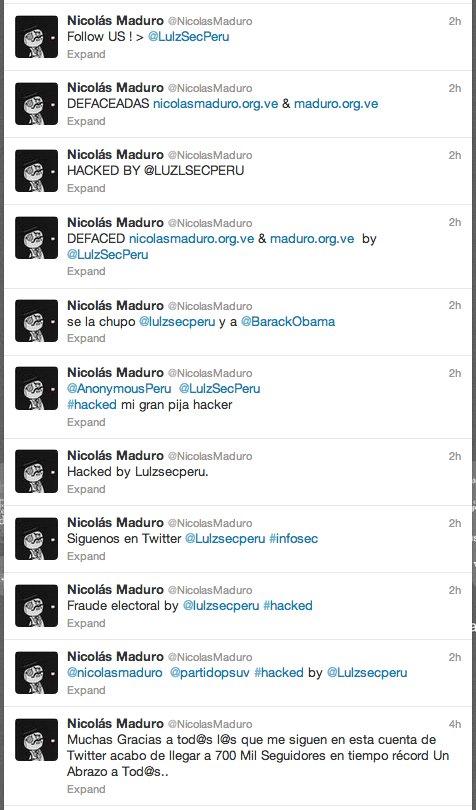 nicolas maduro twitter hacked
