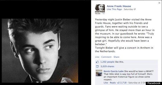 bieber anne frank facebook