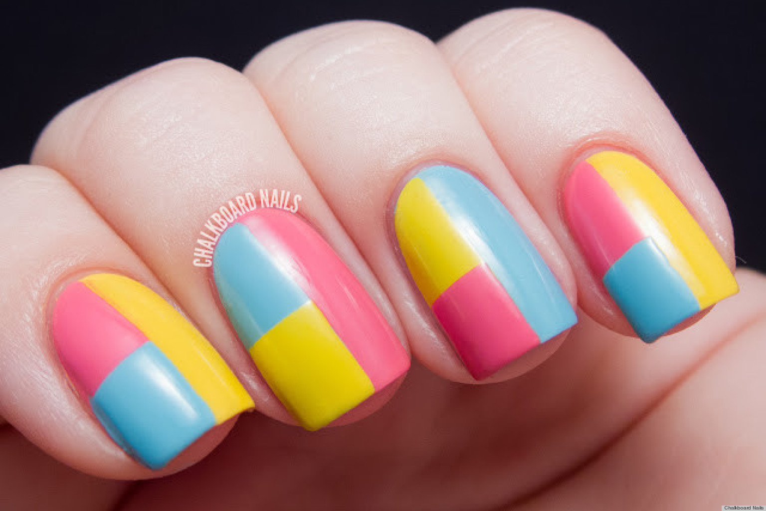 DIY Nail Art: A Colorblock Manicure With Mod Appeal ...