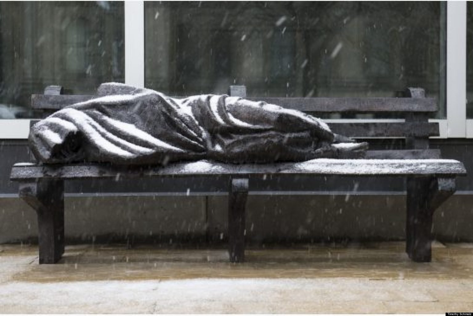 Homeless Jesus Sculpture Continues To Divide Wealthy