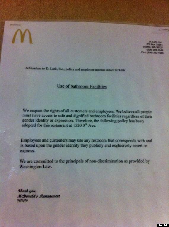 mcdonalds trasngender rights