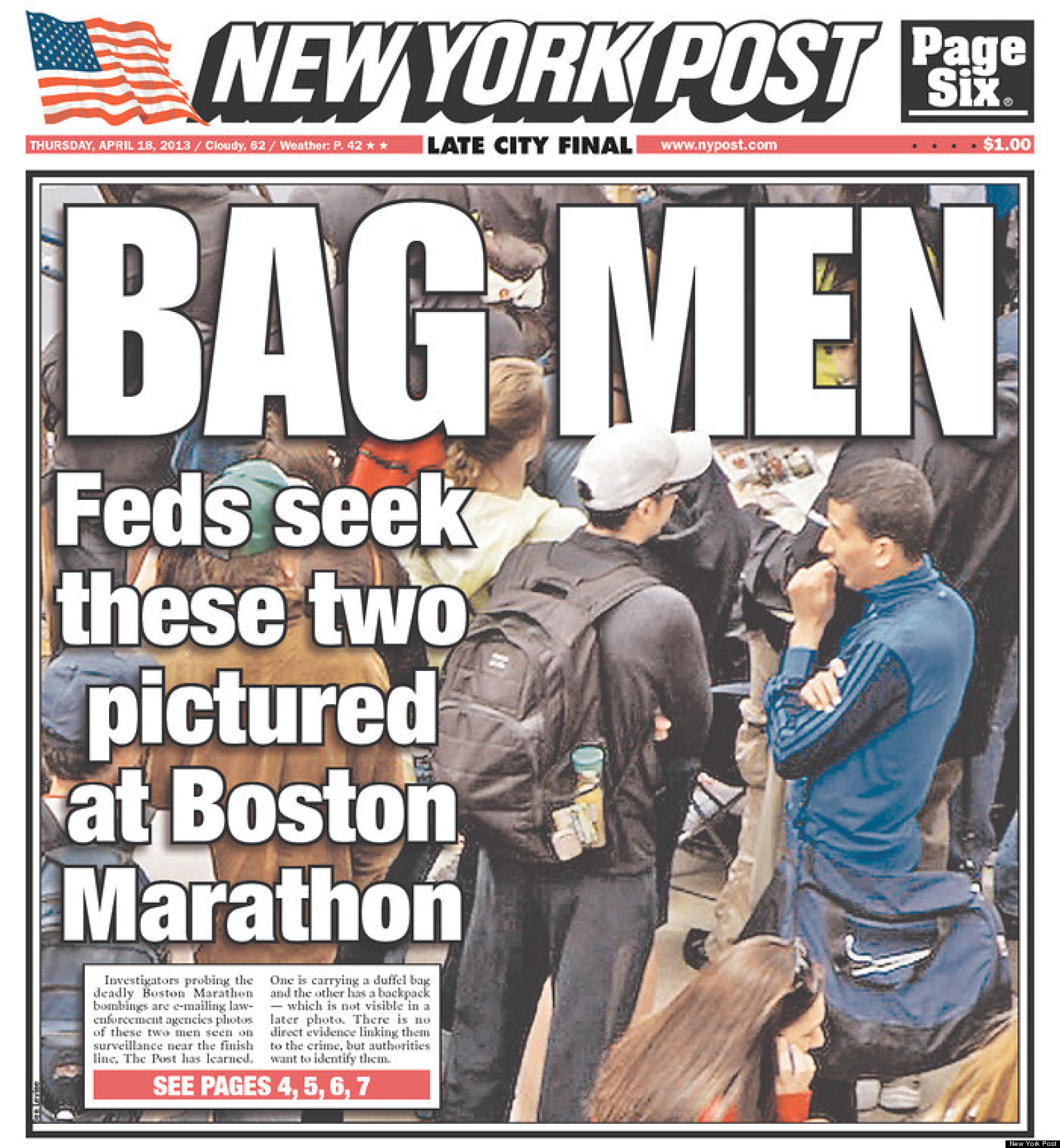 Bag Men' Sue New York Post Over Boston Marathon Bombing Cover