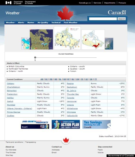 weather website screenshot