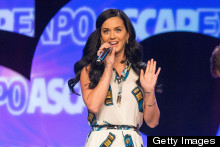 Fashion Fail? Katy Perry Wears A Phone-Print Dress For Hollywood Music Event