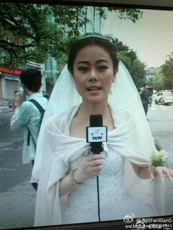 reporter china earthquake wedding dress