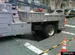 Sinkhole Swallows DEP Truck In The Bronx