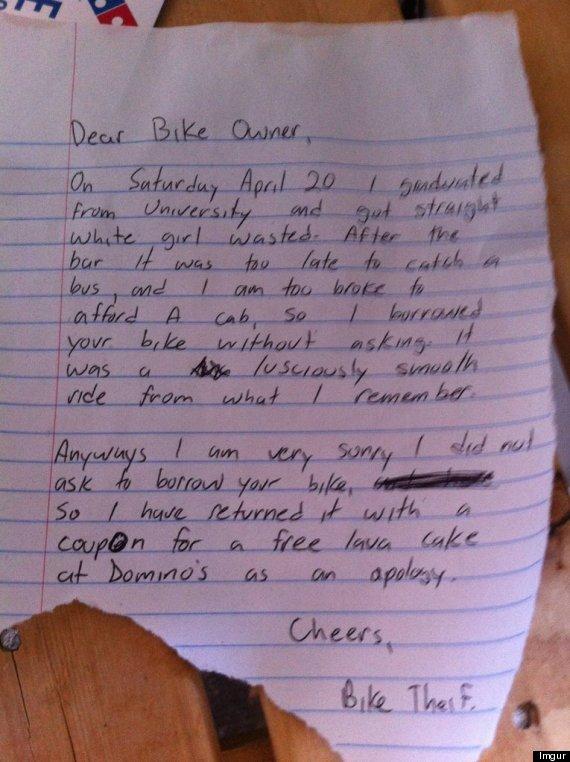 bike thief apology