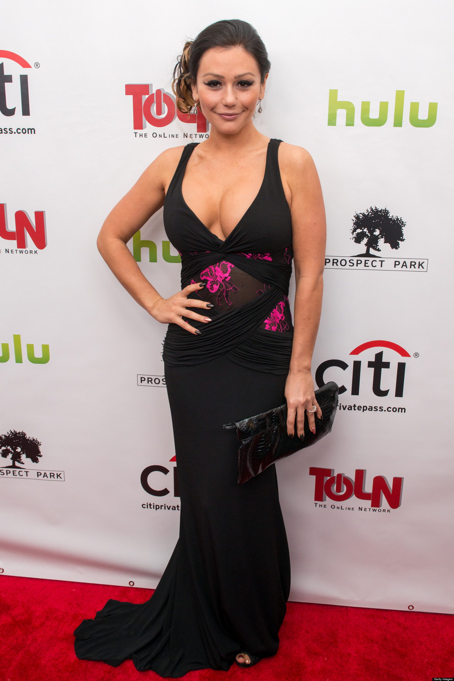 Jwoww S Cleavage Nearly Busts Out Of Her Dress Photos
