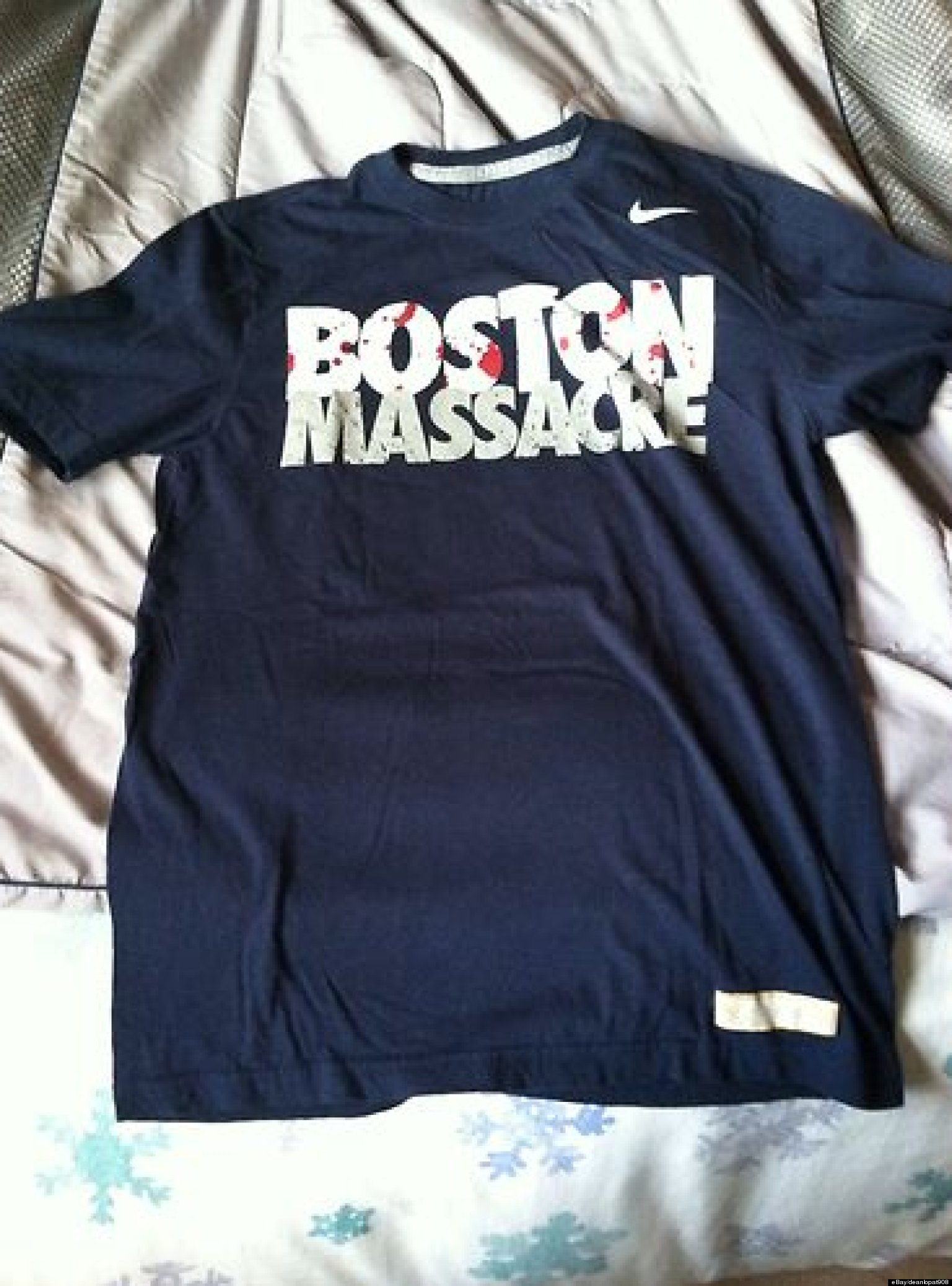 Black t shirt ebay - Nike Boston Massacre T Shirt On Ebay For 150 000 And People Have Bid That Much Huffpost