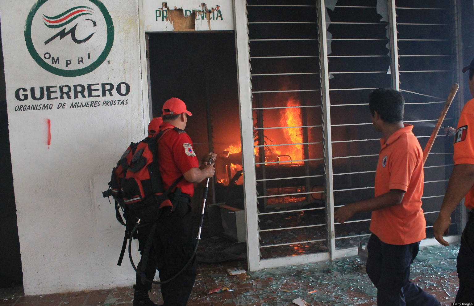 Striking Mexican Teachers Set Fire To Party Office