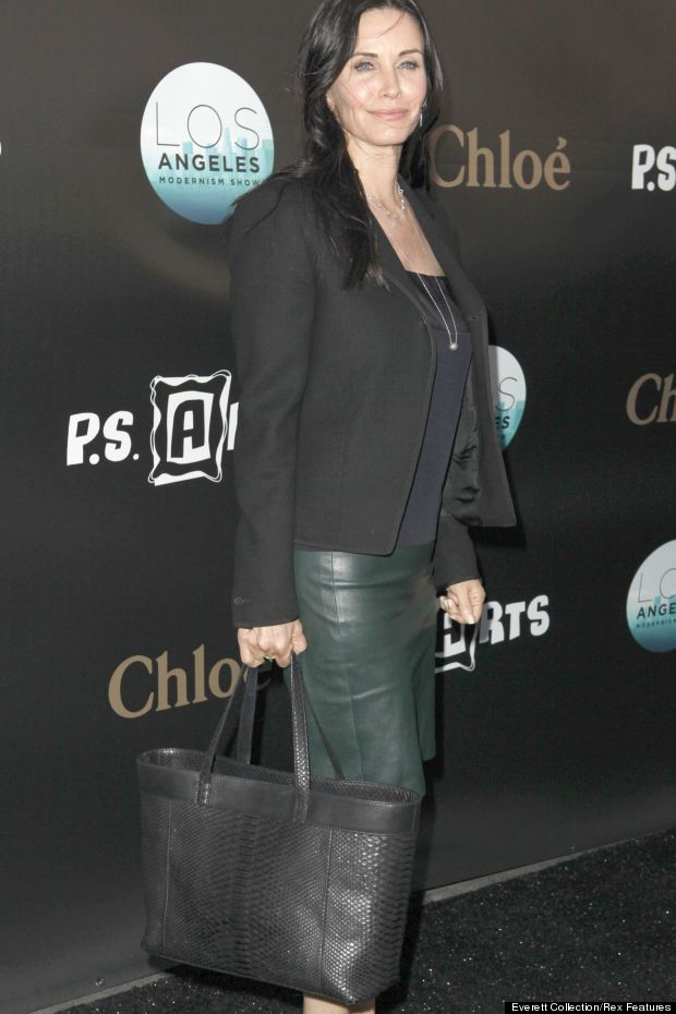 courteney cox leather skirt
