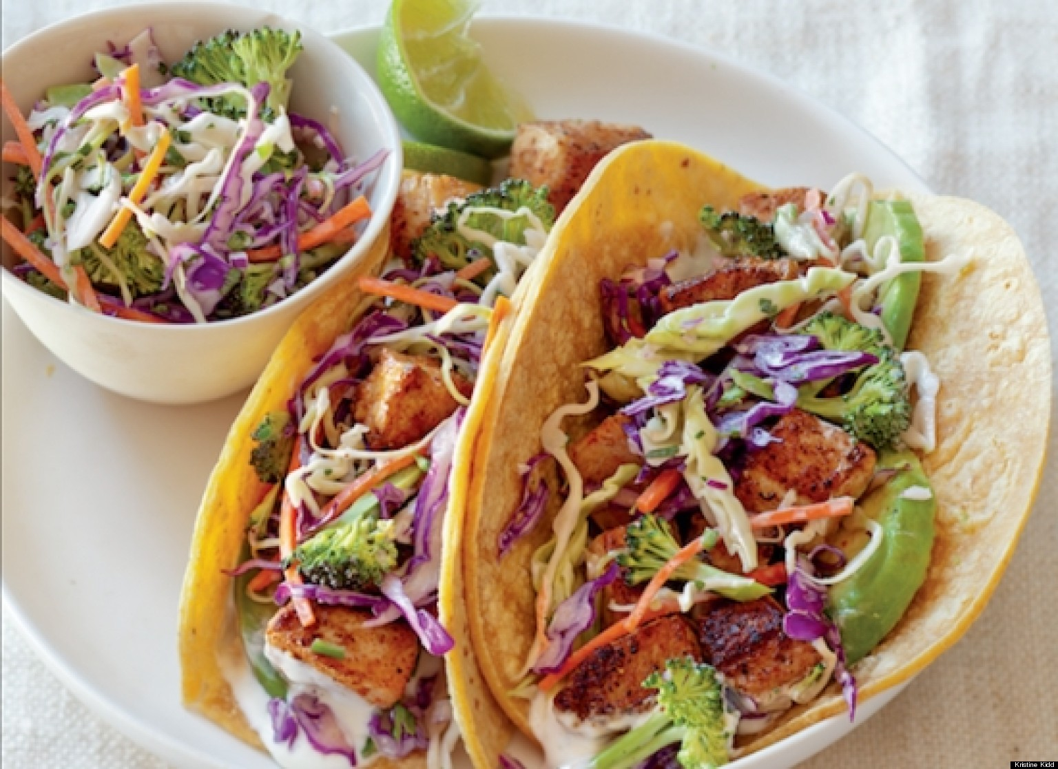 Fish tacos recipe with broccoli slaw and lime cream sauce for Best fish taco recipe