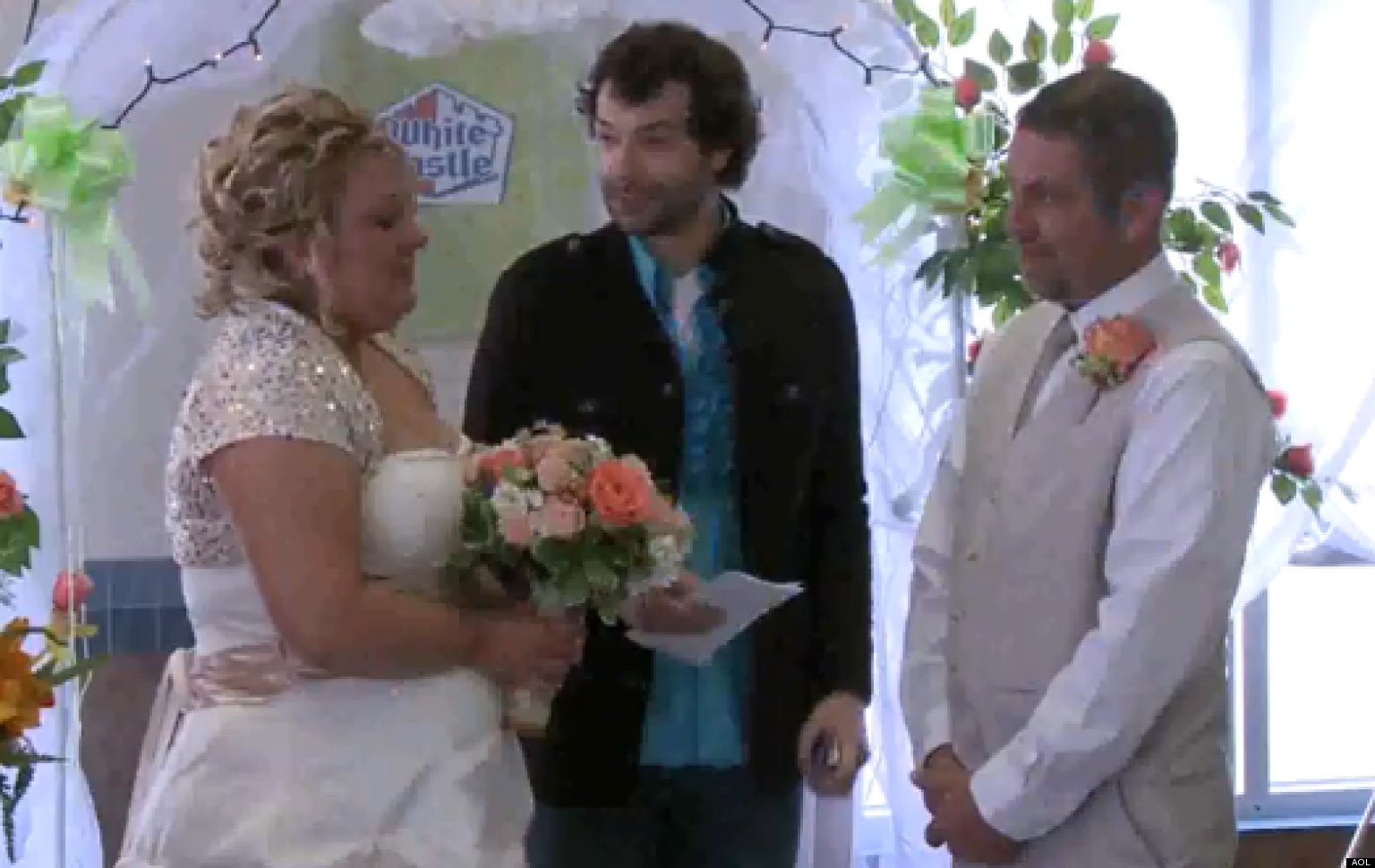 white castle wedding: couple ties the knot inside burger joint