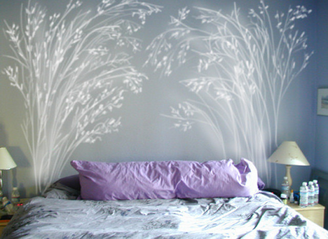 5 diy headboard ideas that aren 39 t technically supposed to for Painted on headboard