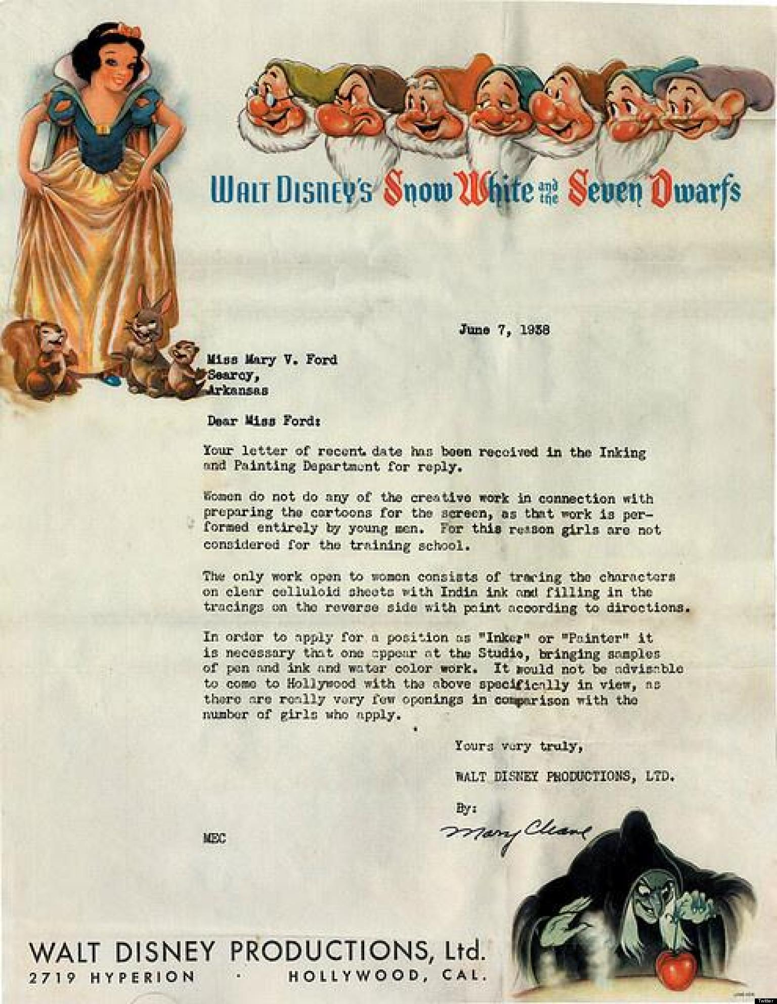 disney rejection letter from 1938 tells candidate   u0026 39 girls