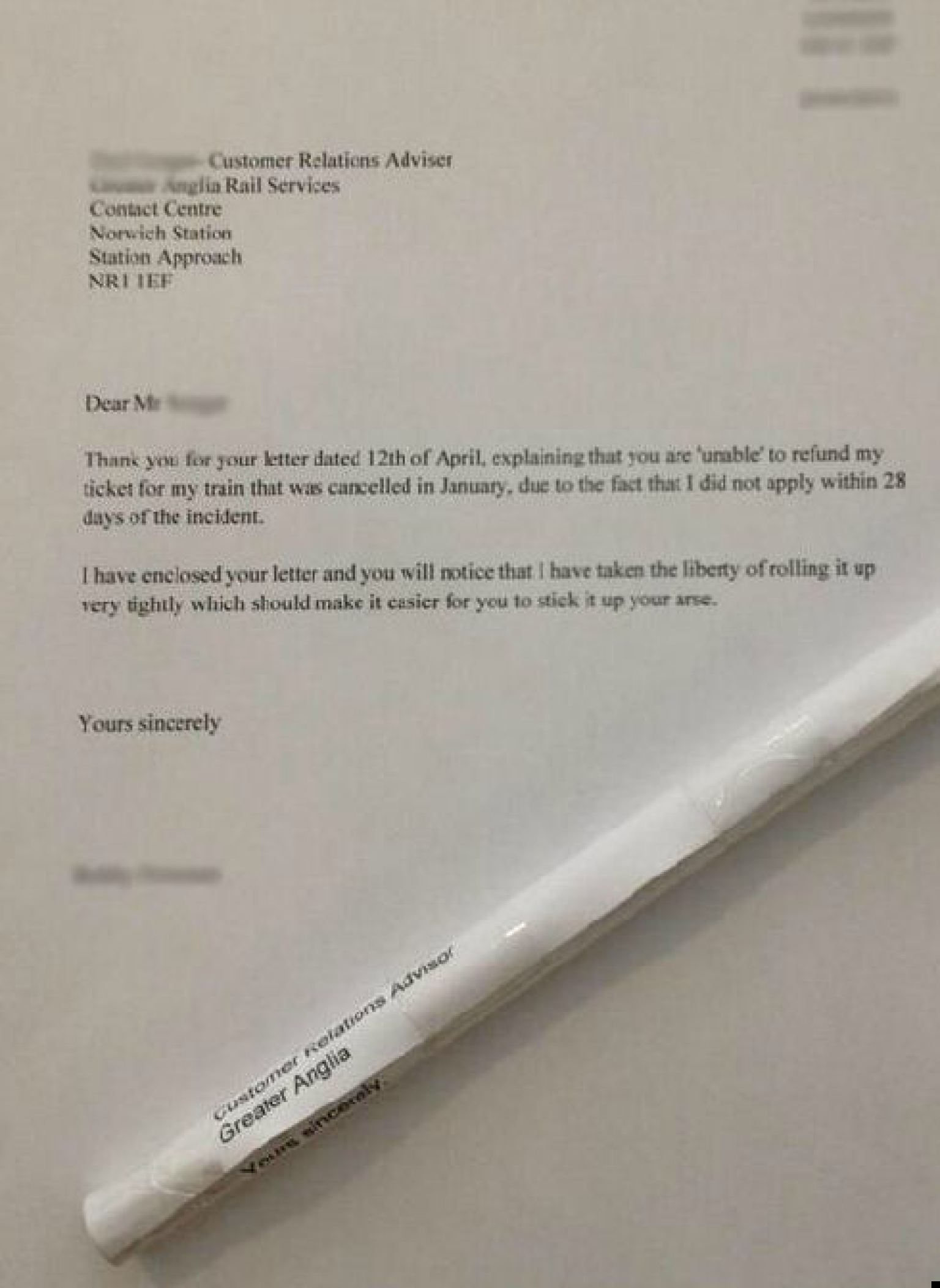 irate passenger returns rolled up refund rejection letter to train irate passenger returns rolled up refund rejection letter to train company explicit instructions picture the huffington post