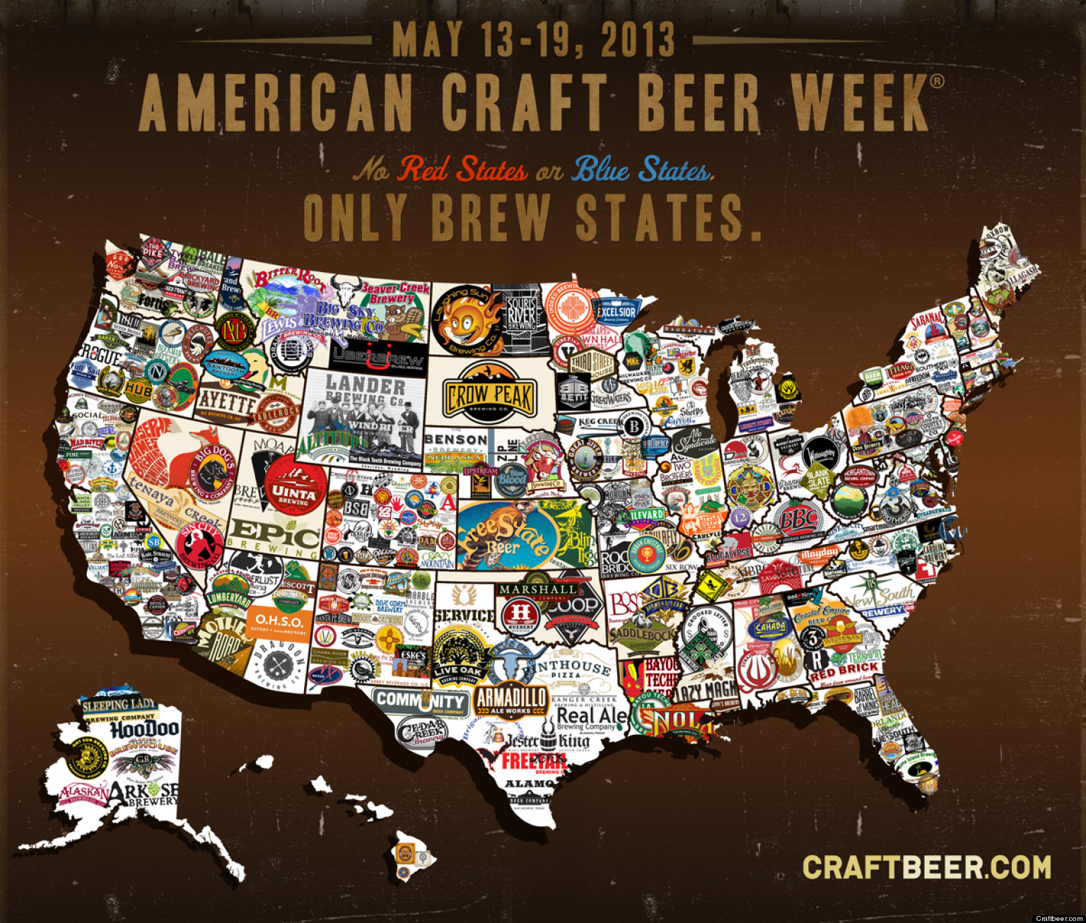 Craft Beer Map Shows Love Of Brew Across The Us Photo Huffpost Brewery Map Usa