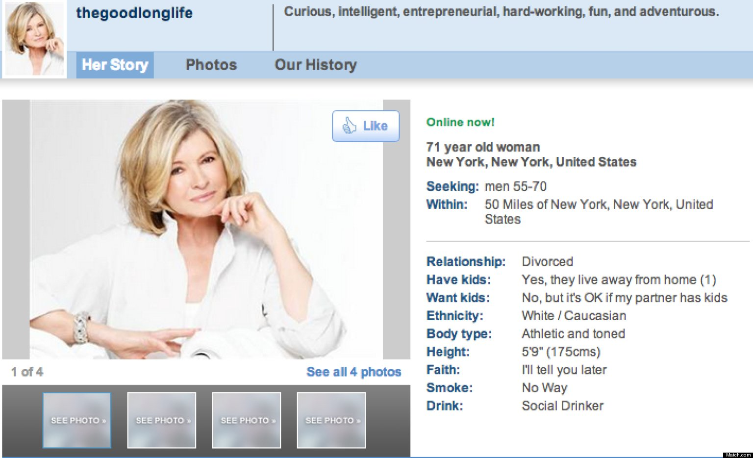 Online dating profile for women over 60 years old