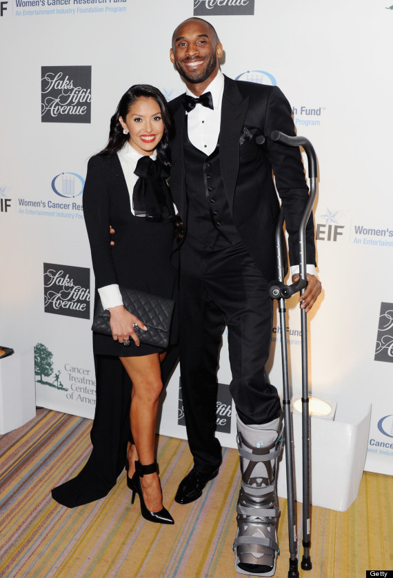 Kobe bryant crutches and injury boot at eif gala nba baller still