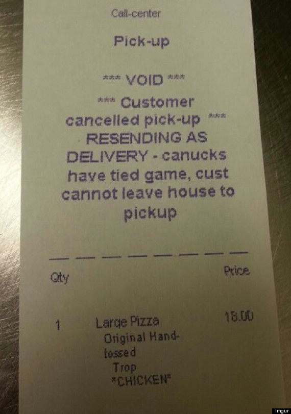 pizza receipt crazy vancouver hockey fan