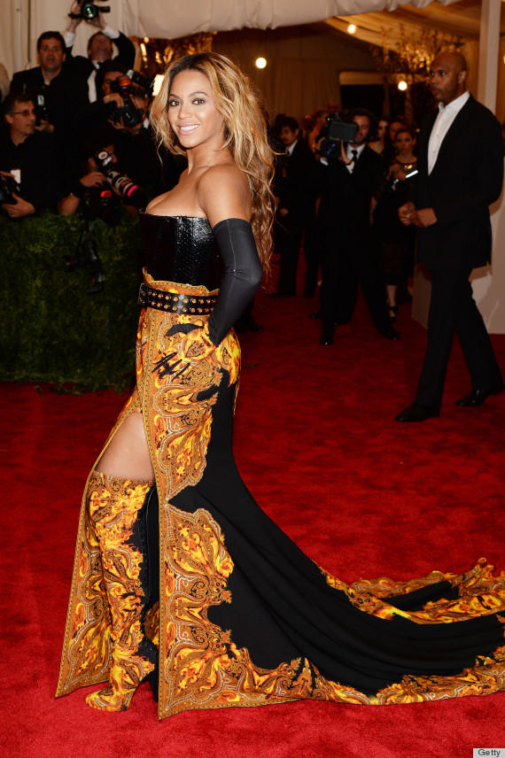 beyonce met gala 2013 dress orange and in charge photos