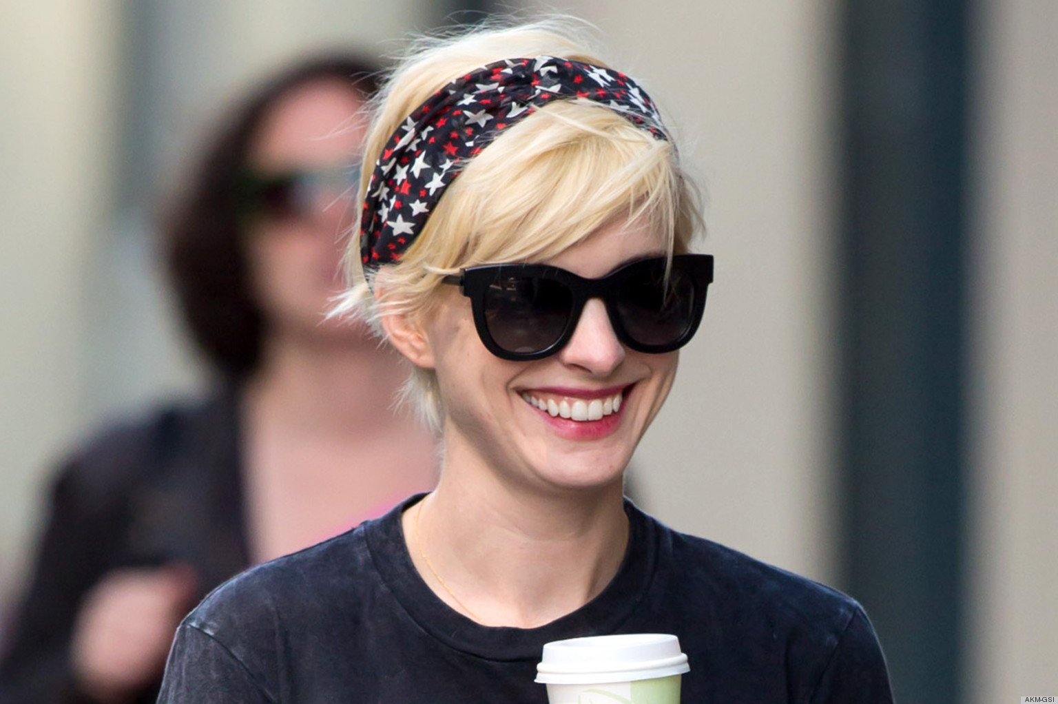 PHOTOS: Anne Hathaway Keeps Her Punk Blonde Hair The Day After The Met Gala
