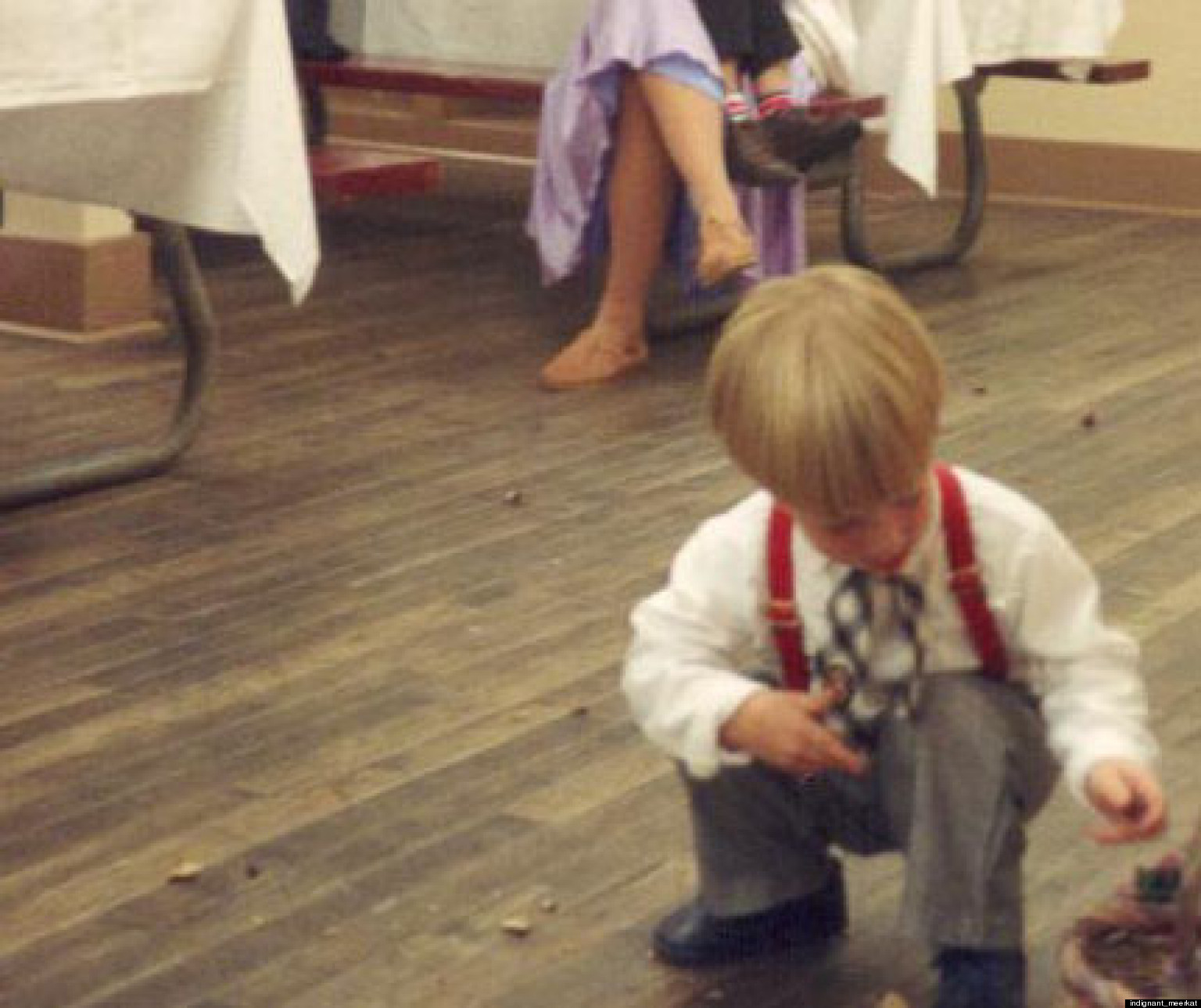 LOOK: Little Boy Cleans Up After Messy Flower Girls