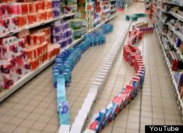 WATCH: Supermarket Domino Run