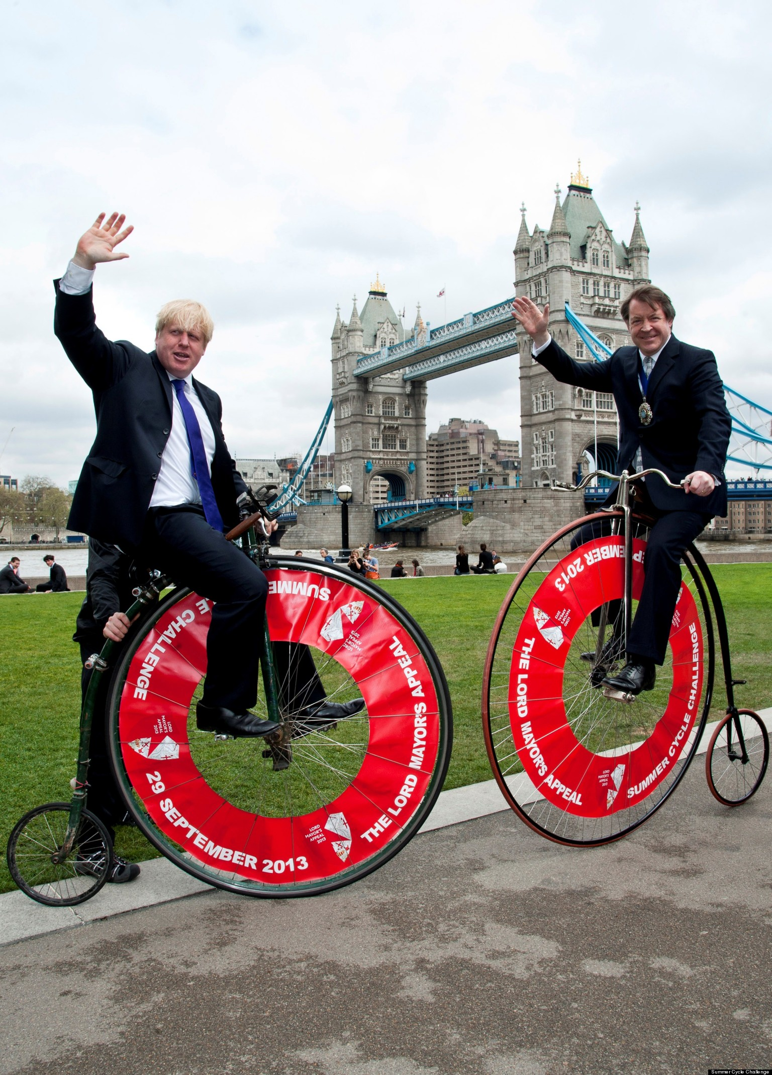boris johnson rides penny farthing to promote lord mayors