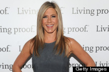 Jennifer Aniston Has Another Good Hair Day In Suede Mini Dress
