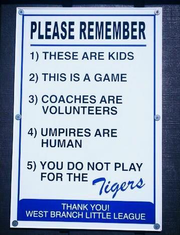 little league baseball sign in west branch mich advises