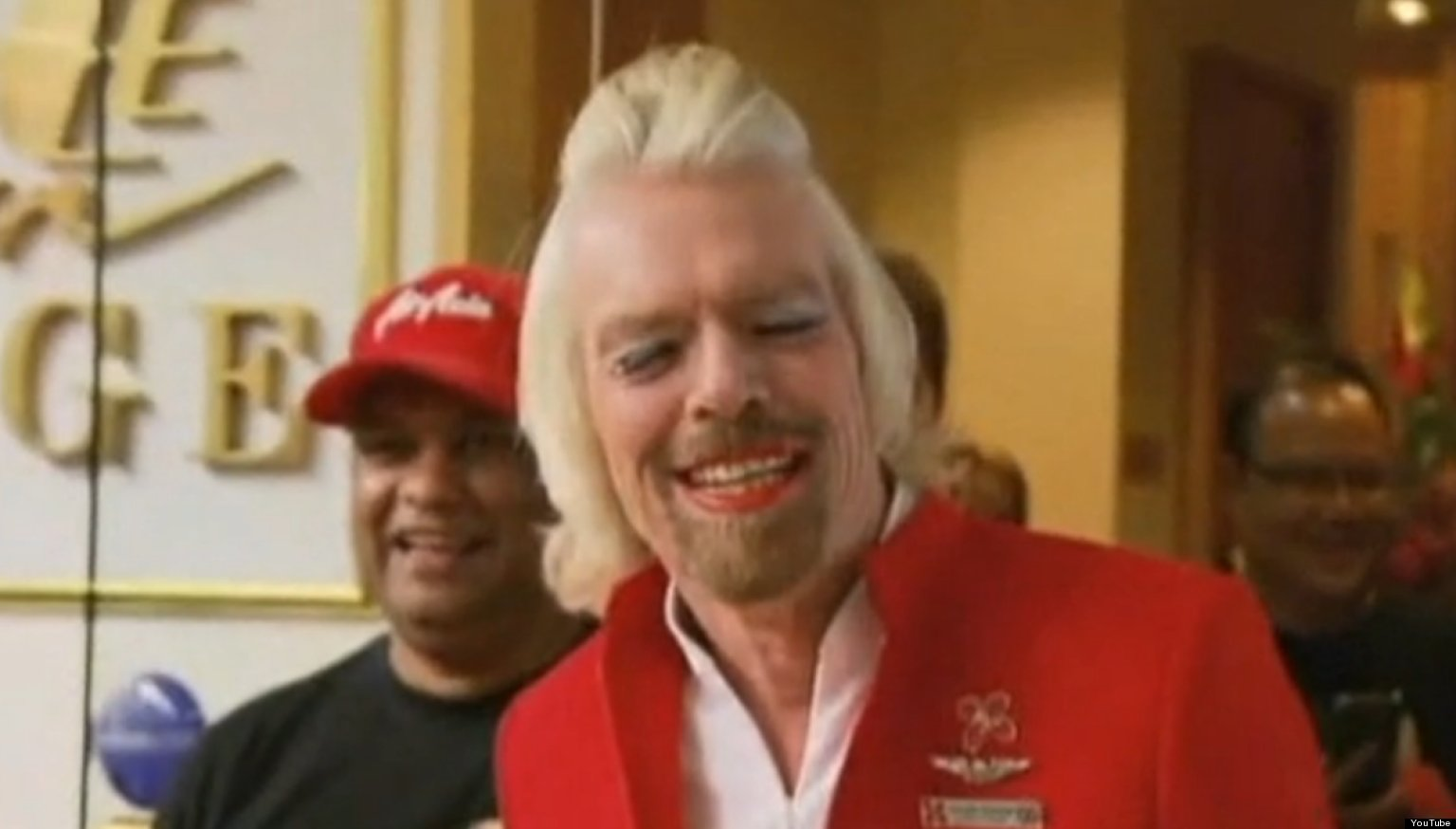 Sir Richard Branson In Drag As He Loses Bet And Dresses As