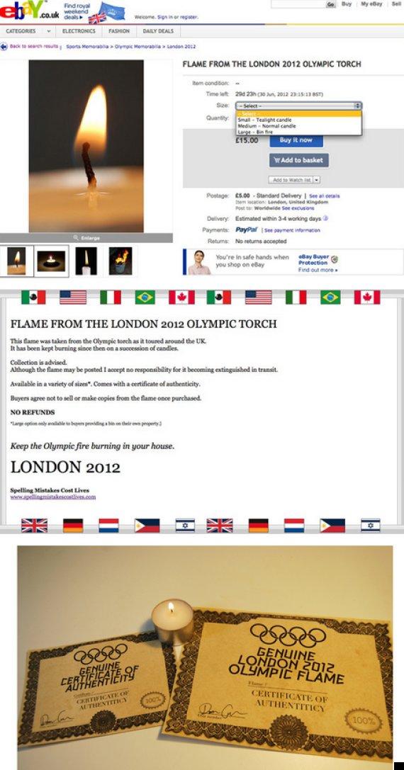 darren cullen olympic flame ebay auction